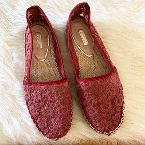 Schutz Red Lace Espadrilles Size 6